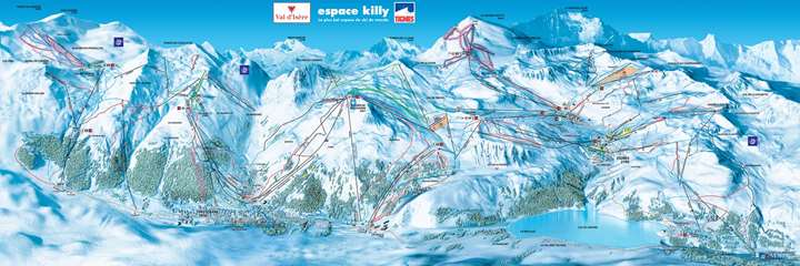 Val d'Isere pistekort - Espace Killy 300 km